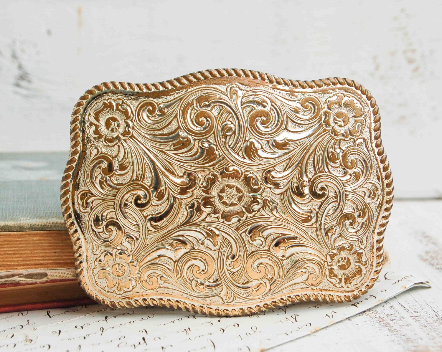 424faa42b110 Big Silver Cowboy BELT BUCKLE Country Western Rodeo Crumrine.   bags ...