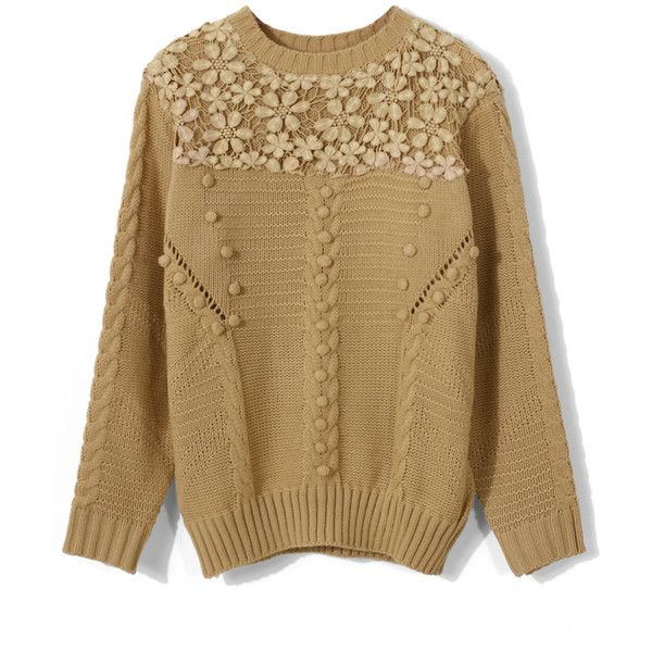 Chicwish Crochet Floral Light Tan Sweater ($48) ❤ liked on ...