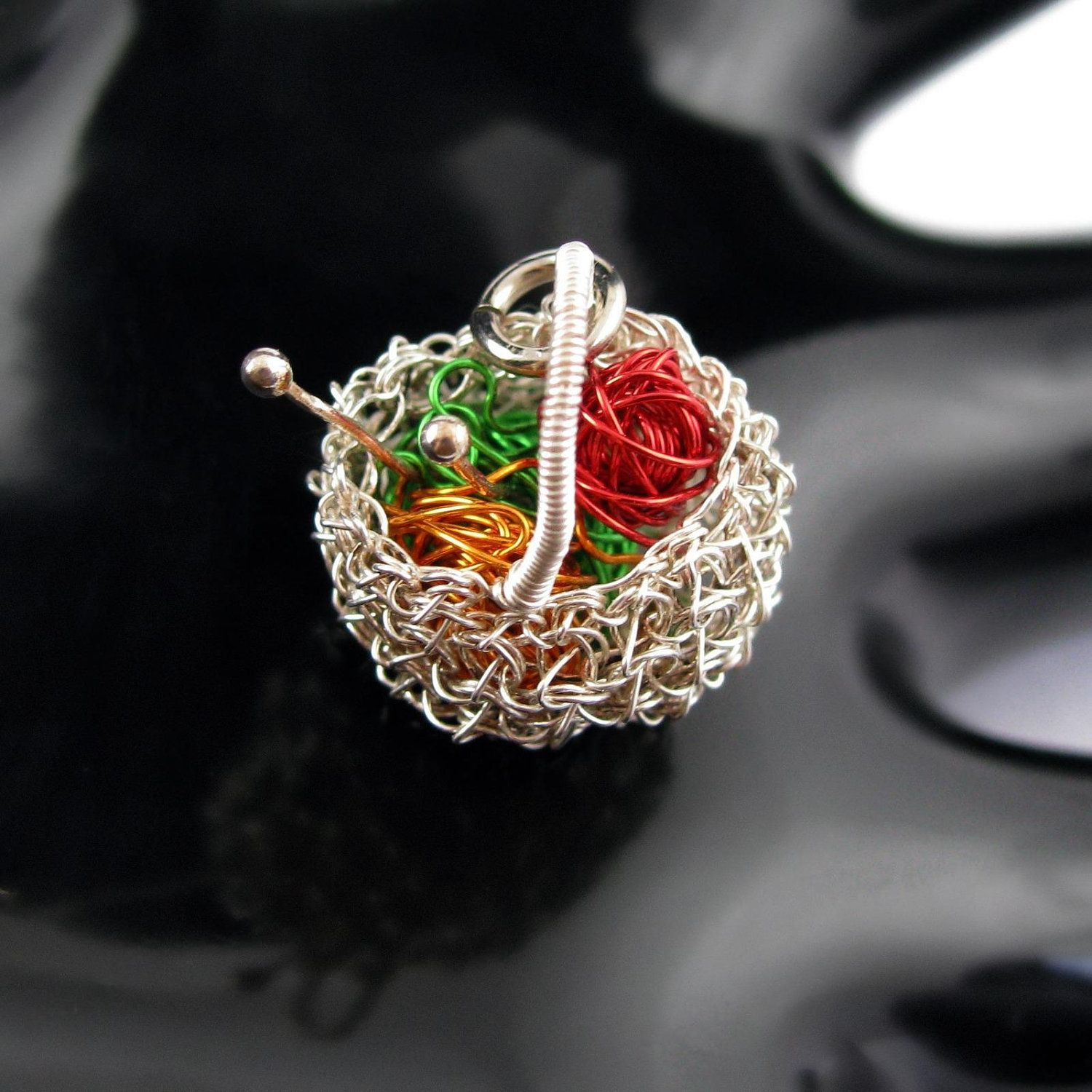 Fine silver wire crochet basket pendant with colored copper wire ...