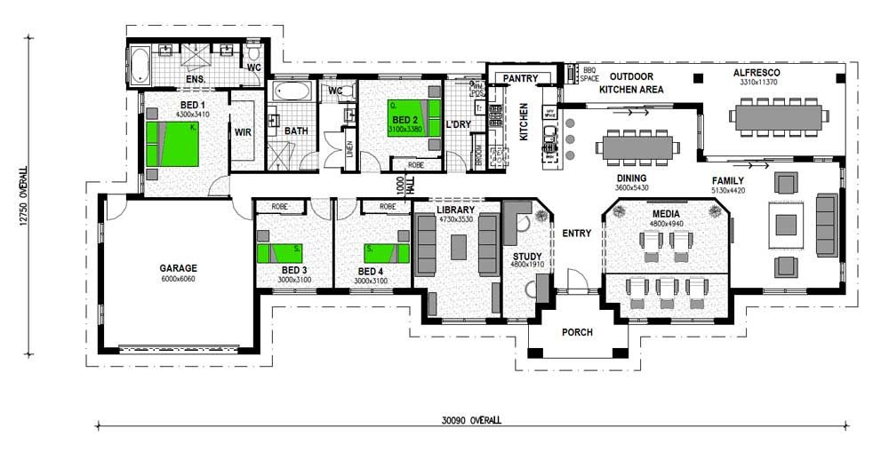vermilion 305 4 bed acreage home design stroud homes - 4 Bedroom House Plans One Story For 2 Acres