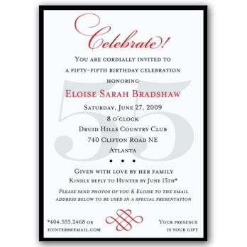 Classic 55th Birthday Celebrate Party Invitations 90th Birthday Invitations 80th Birthday Invitations Surprise Party Invitations