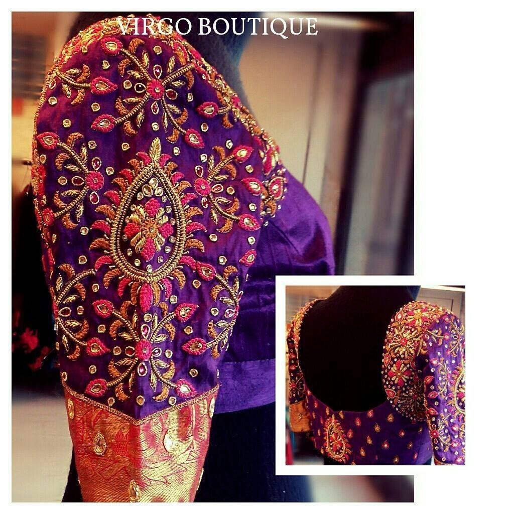 Beautiful Purple Color Designer Blouse With Floret Lata Design Hand Embroidery Thread And Kundan Work 14 October 2017
