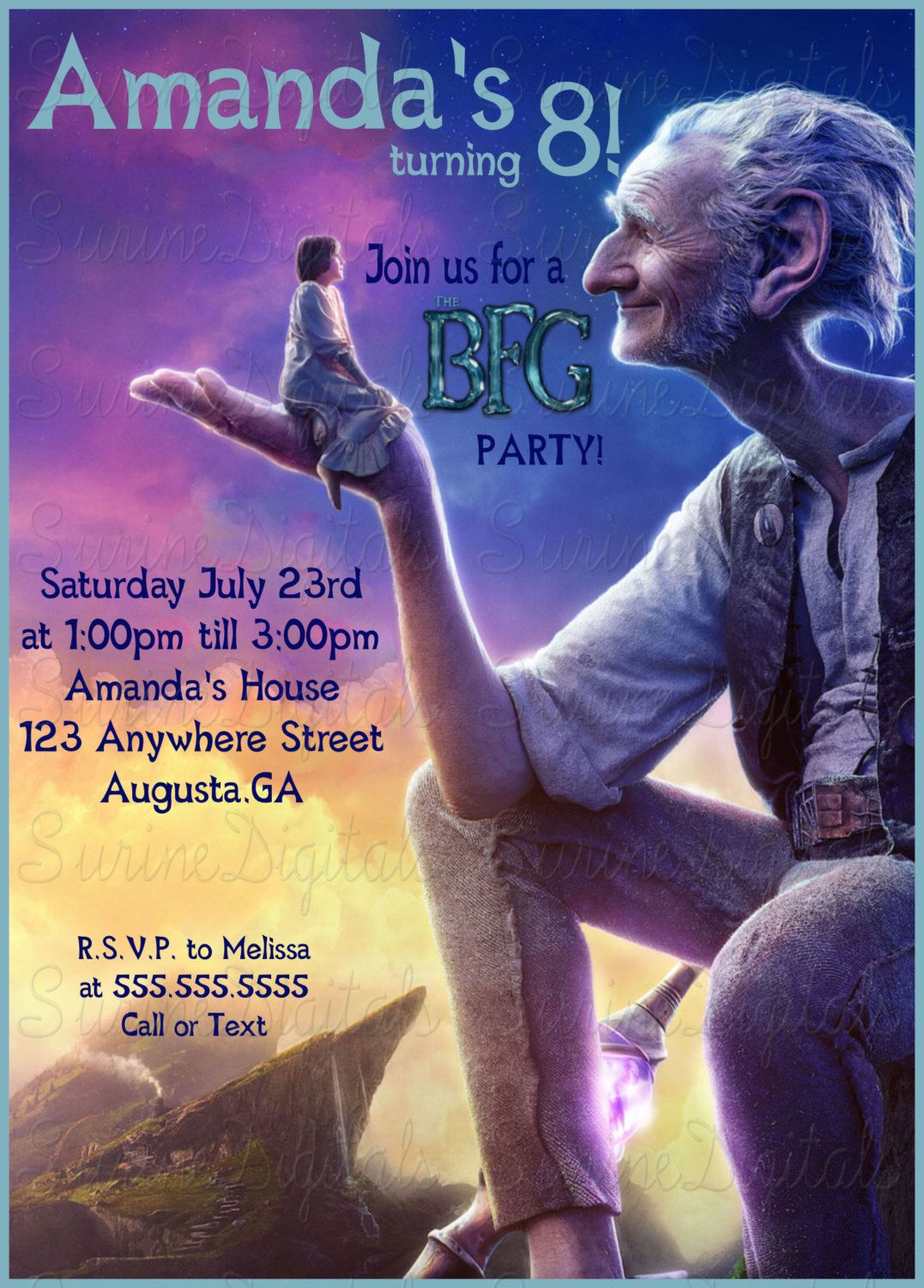 Mi Amigo El Gigante Libro The Bfg Birthday Party Invitation The Big Friendly Giant