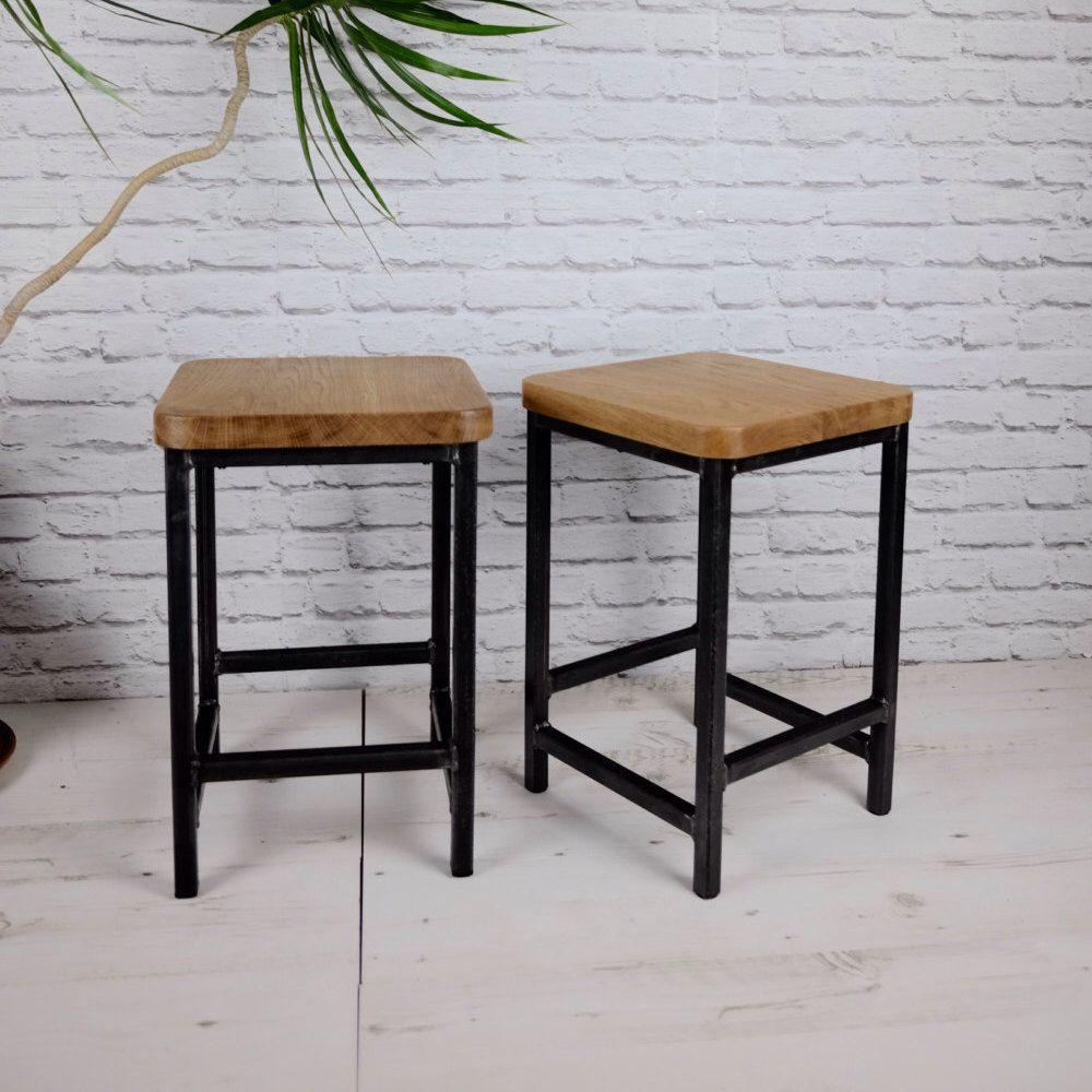 Oak and Steel Coffee Table/ Side Table/ Stool - Rustic Modern ...