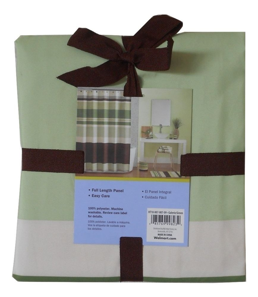 Home Trends Galerie Brown, Yellow & Green Stripe Fabric Shower ...