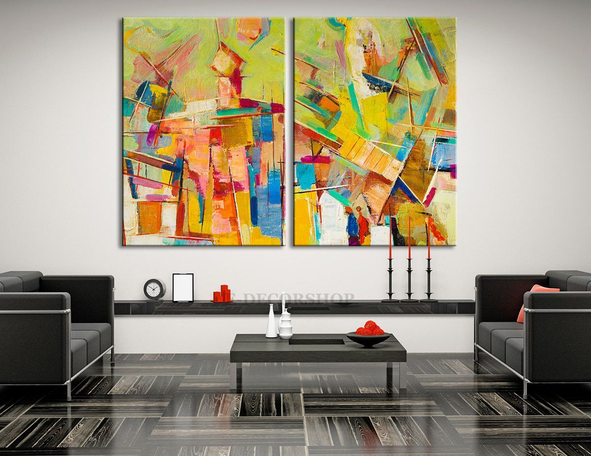 Extra Large Colorful Abstract Wall Art Giclee Canvas Print
