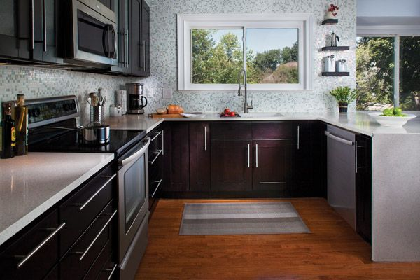 popular kitchen cabinet refinishing | Love the colors in this kitchen...cabinet refacing job ...