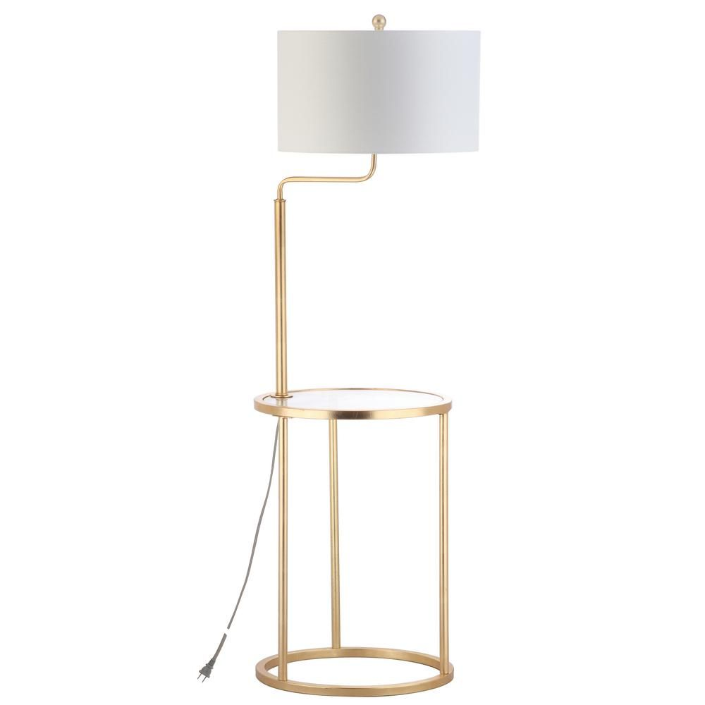 Safavieh Crispin 57 In Gold Leaf Floor Lamp With Attached Side Table Side Table Lamps Floor Lamp Floor Lamp Table