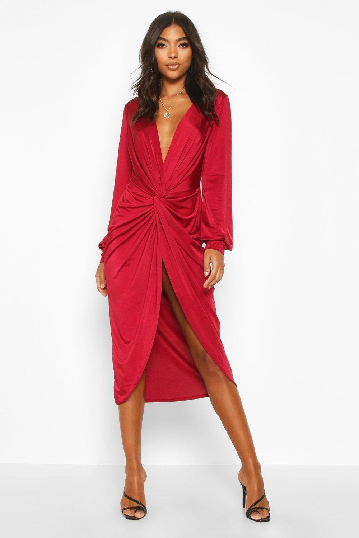 Tall Olivia Wrap Front Slinky Midi Dress Boohoo In 2020 Red Midi Dress Clothing For Tall Women Dresses [ 1500 x 1000 Pixel ]