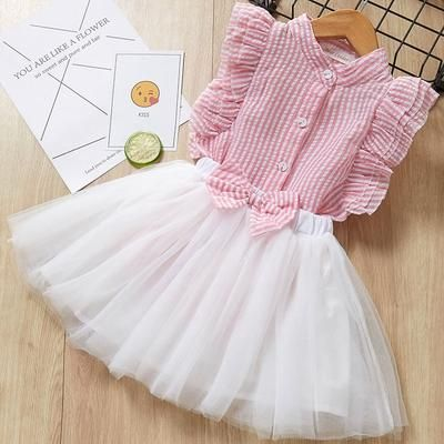 Girl Mesh Dress 2018 New Spring Dresses Children Clothing Princess Dress PinkWool Bow Design 2-8 Years Girl Clothes Dress