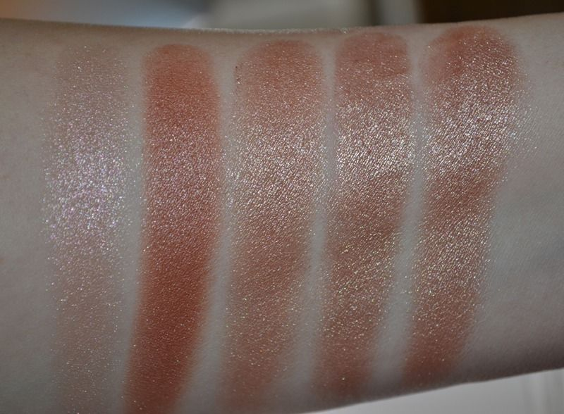 L-R (natural light)- Cruel Gardenia, Shimmering Sands, Superb, Modern Mercury, Rose Rendezvous