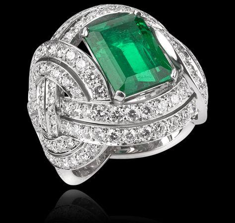 3.04 carat Colombian, no heat, emerald, pave' diamond, Entanglement Collections Garrard