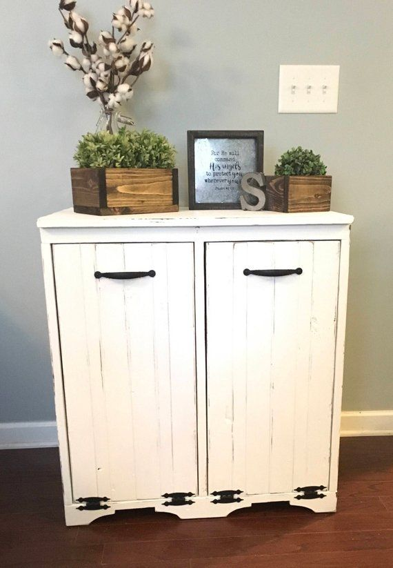 Double Tilt Out Trash Bin is part of Wood doors interior - Double door tilt out trash or laundry bin  Custom built wooden trash bin makes a pretty addition to your kitchen, and keeps trash out of sight  This bin is moderately distressed for an aged look and holds a 13 gallon trashcan  (For plastic bins inside please also select