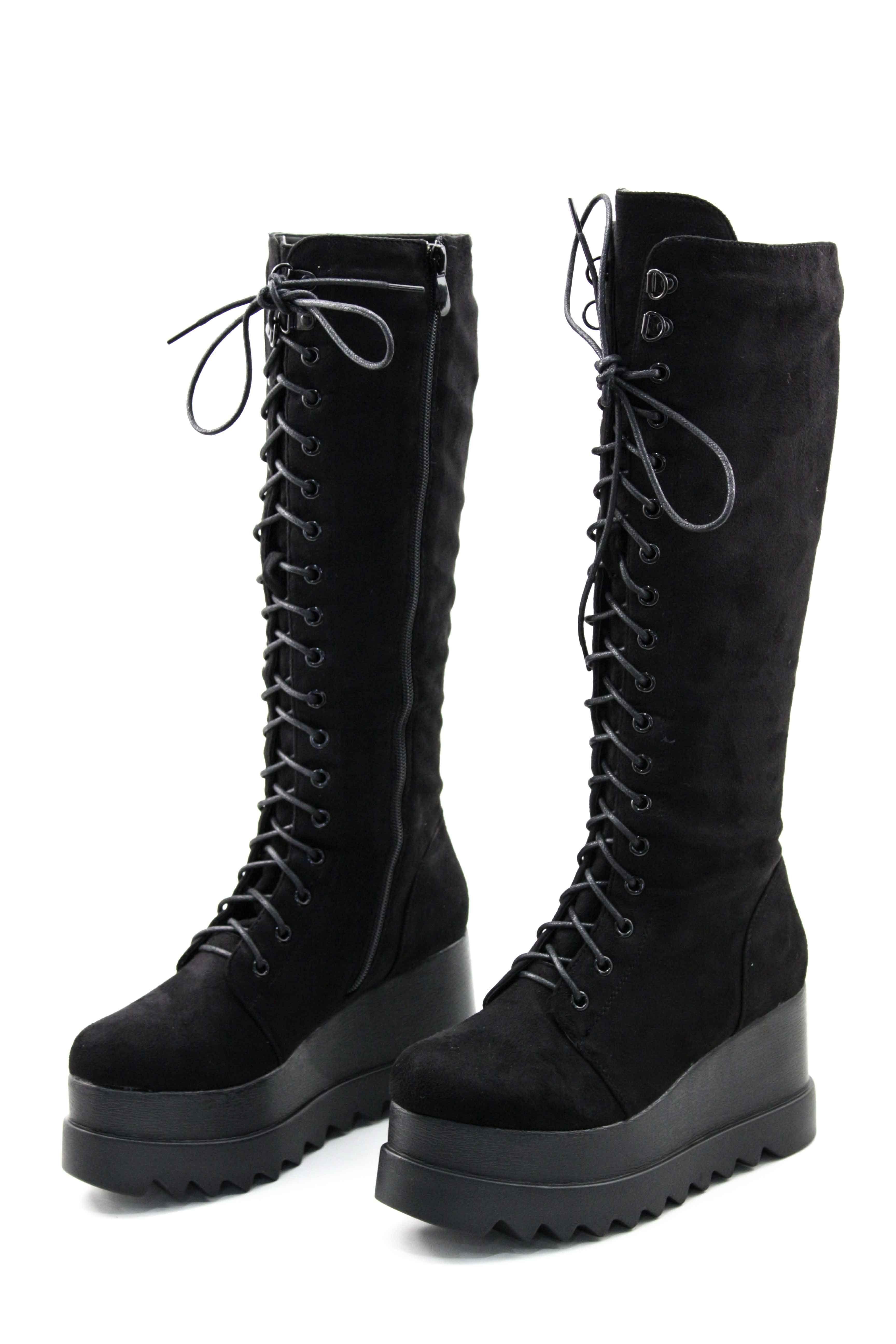 63c355cec24 Γυναικειεσ μποτεσ πλατφορμεσ μαυρεσ | Shadow wallk | Shoes, Boots ...
