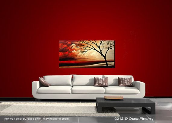 Paintings name: Into the Light    Size: 48x24x1.75 Deep Gallery Canvas  Medium: Acrylic on gallery-wrapped stretched canvas  Colors: Dark brown, dark red, red, rusty orange, cream, pale yellow, white, black.    This red landscape painting was painted on a staples free sides canvas. It is ready to hang. This birch tree painting was painted on a stretched wrapped canvas in my studio. This tree painting was created with great quality paints and materials. It was coated with varnish to protect…