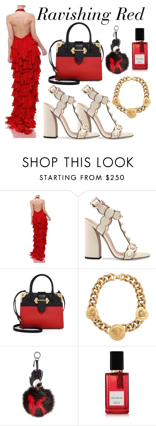 """""""Red Ruffle Dress"""" by shahida-parides ❤ liked on Polyvore featuring Gucci, Prada, Versace, Fendi and Diana Vreeland Parfums"""