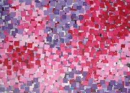 Dit kleurrijk schilderij is gemaakt met vele stempels. De hoofdkleuren zijn paars en roze.