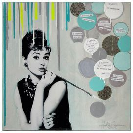 Canvas print showcasing a portrait of Audrey Hepburn with text accents.   Product: Wall artConstruction Material: CanvasFeatures: Printed with eco-friendly dyesCleaning and Care: Keep out of direct sunlight. Dust with dry cloth free of chemicals.