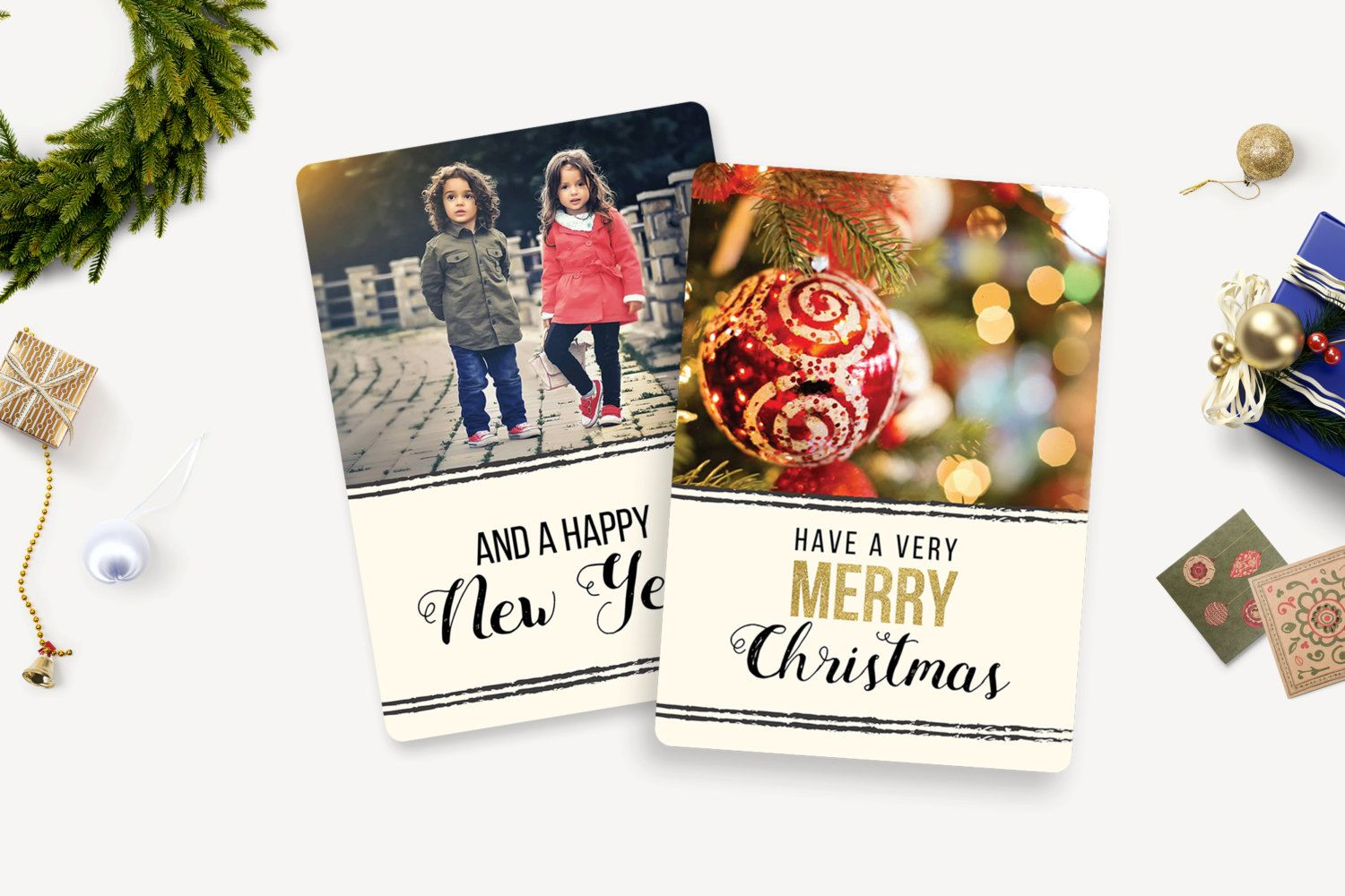 Christmas Card Template/Holiday Greeting Card/Photo Card/Photoshop and Elements Template/Photoshop template 5x7 flat card/Instant Download by 961TEMPLATEBOUTIQUE on Etsy