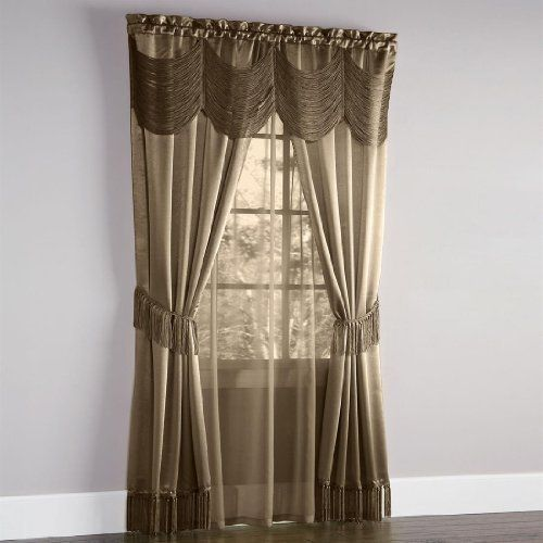 Brylane Home Halley 6 Pc One Rod Curtain Set Taupe 56 W 84 L