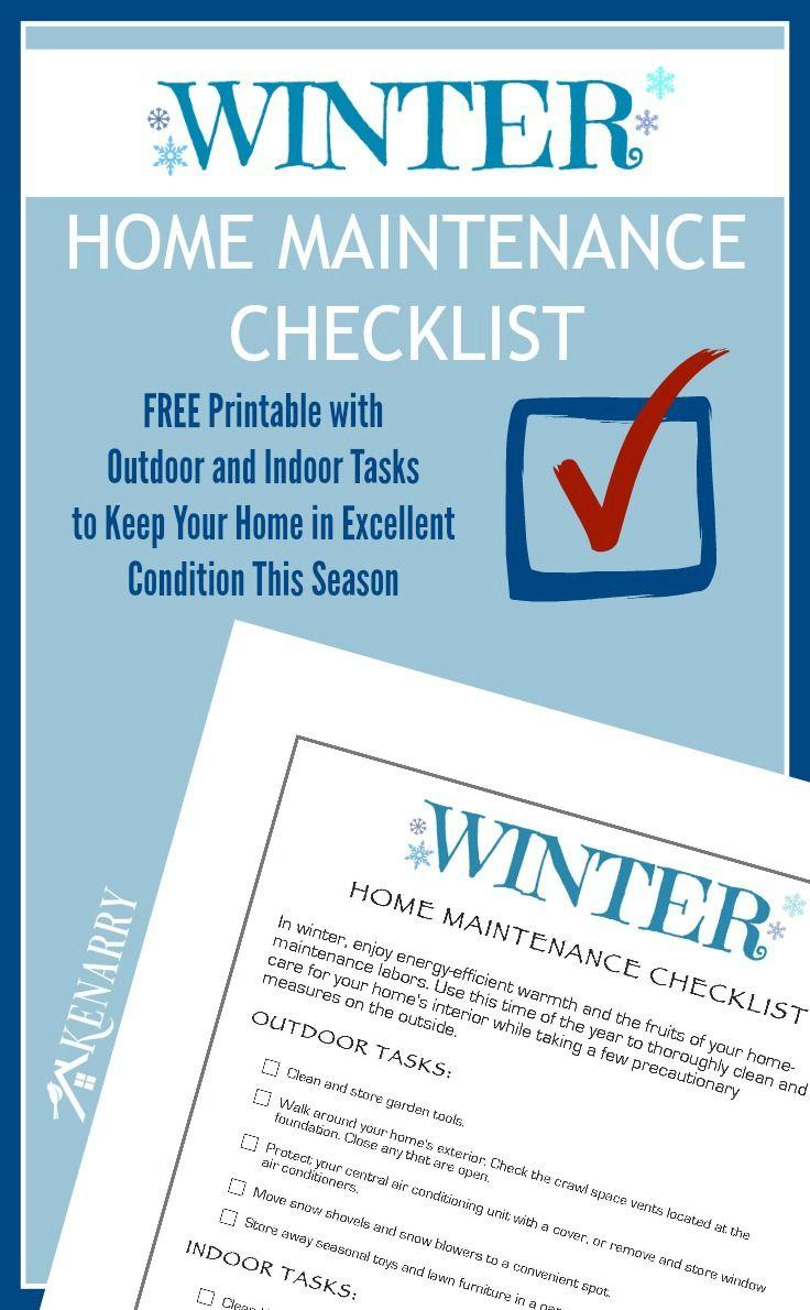 Winter Home Maintenance Checklist: Free Printable   DIY Home Decor ...