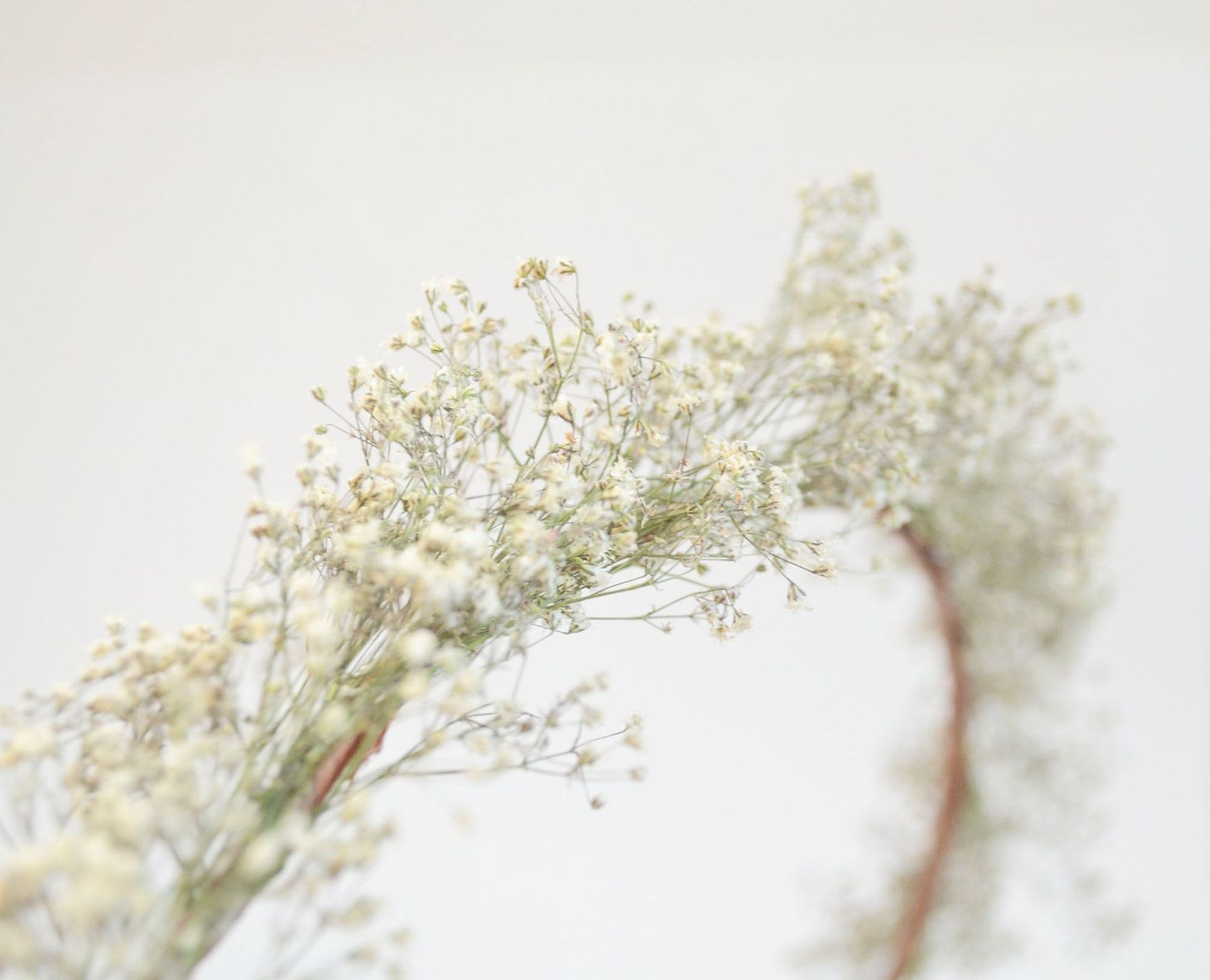 Babys Breath Halo Crown Hair Wreath All Natural Dried Flowers For Bride o