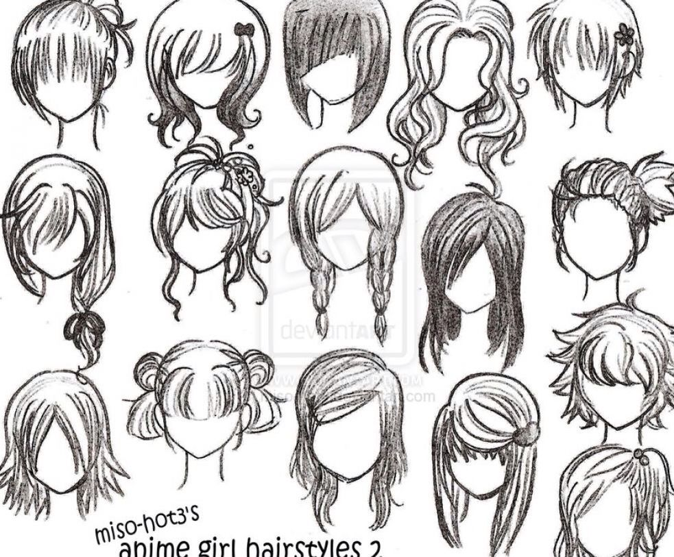 easy cute hair types -girl- ( my favorite 2/2 ) | drawing
