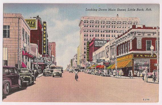 Arkansas Postcard Little Rock Arkansas Ar Main Street Linen