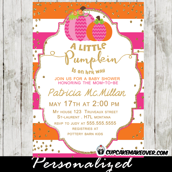 Pink orange little pumpkin baby shower invitation personalized striped little pumpkin baby shower invitation featuring two pumpkins in pink and orange with a sprinkle of faux gold glitter perfect for a baby girl autumn filmwisefo