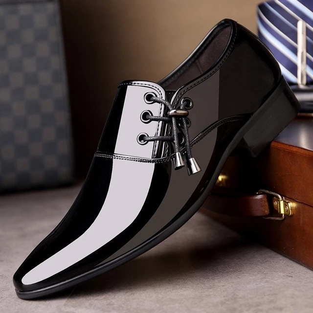 Patent Leather Dress Shoes Metal Pointed Toe Adult Elegant Wedding Casual Oxford Black Shoes