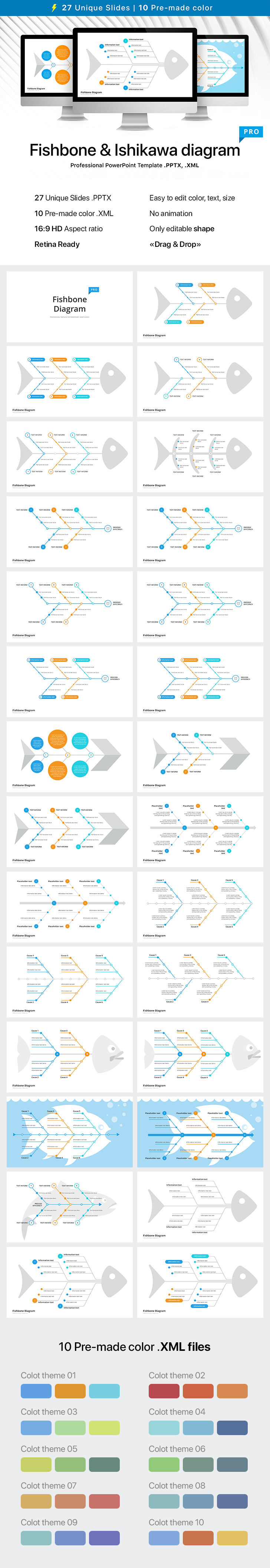 fishbone diagram template for powerpoint powerpoint template