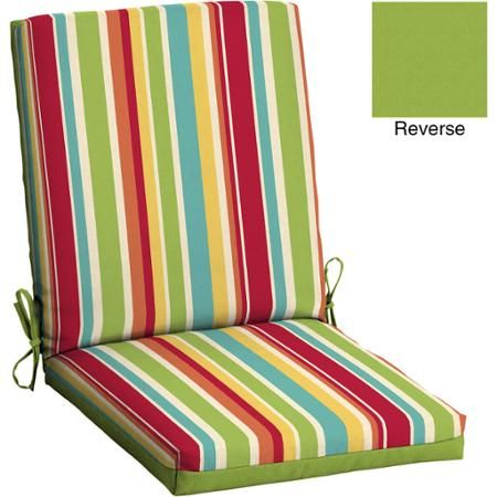 Mainstays Outdoor Patio Reversible Dining Chair Cushion Multi