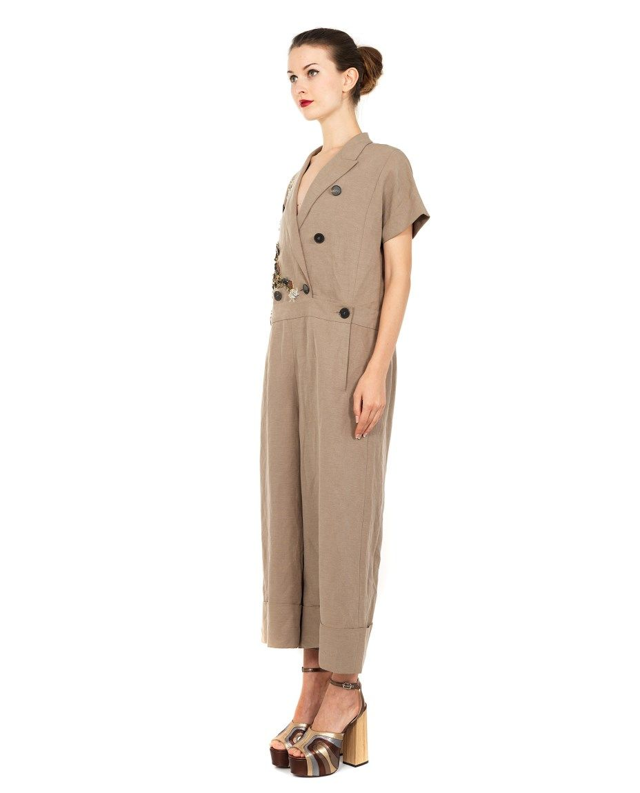 Antonio marras overall with applications ss beige linen blend