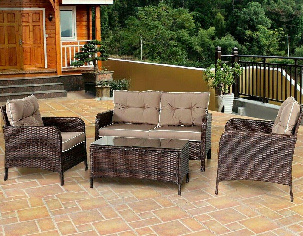 Patio Clearance Furniture Set Outdoor Rattan Loveseat