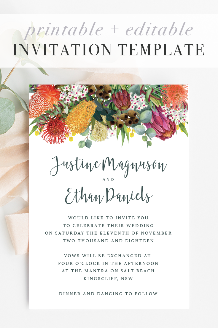 Australian Natives Wedding Invitation Templates Ficus And Fig Design Is An Austral Wedding Invitations Australia Spring Wedding Invitations Wedding Stationery
