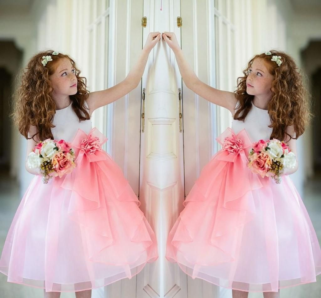 Lovely White And Pink Girls Princess Party Dresses 2016 Crew ...