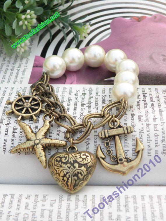 Retro copper starfish heart anchor rudder pearl beads bracelet vintage style. $5.99, via Etsy.