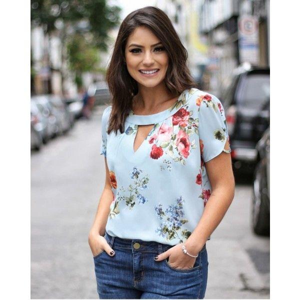 4753657639 BLUSA FLORAL PREGAS DECOTE - Moda Feminina Santa Santina