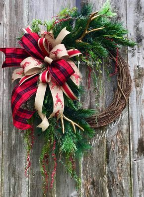 Rustic Christmas Wreath Diy.Rustic Christmas Wreath Rustic Christmas Grapevine Antler
