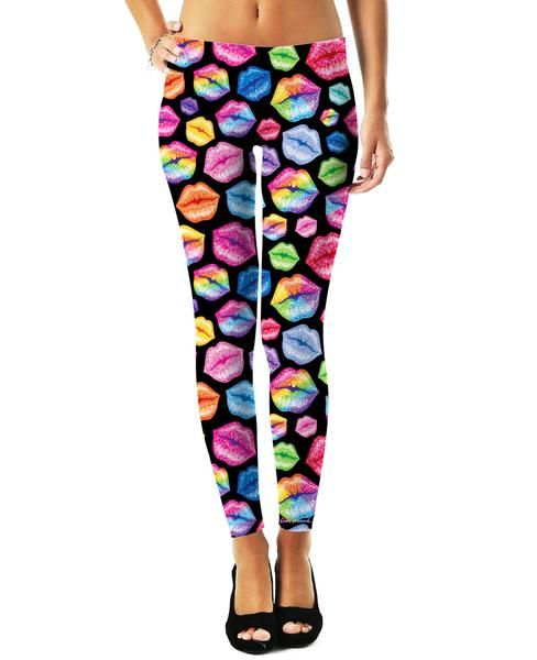 5f0d5d0dca110e ... teamed up with Lisa Frank to bring you a new line of officially  licensed, all-over-print apparel! Pucker up with these vibrant Lips Black  Leggings to