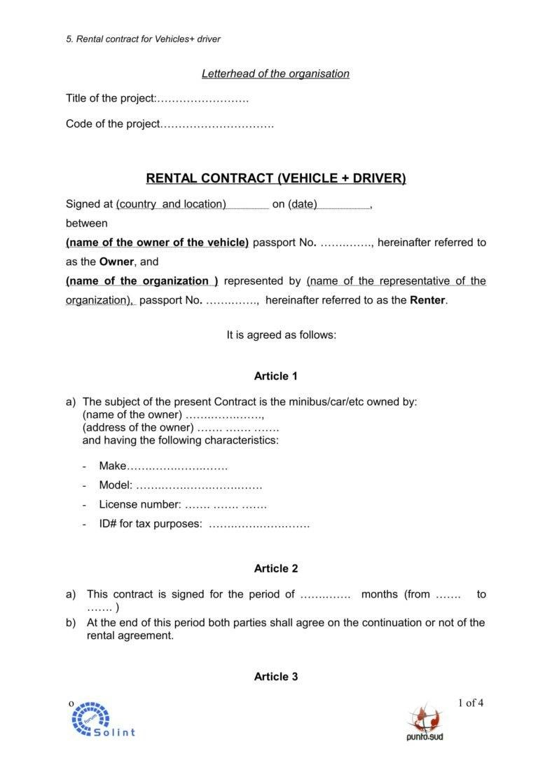 Car Rental Agreement Templates In Word Free Premium Templates With