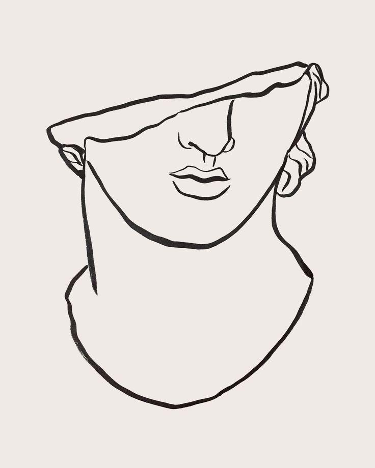 Griechische Statue Studie I, Sumi auf Zeitungspapier, von Tristan b. #greekstatue