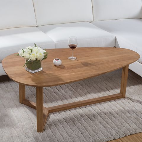 Yidai home white oak coffee table oval coffee table creative ...