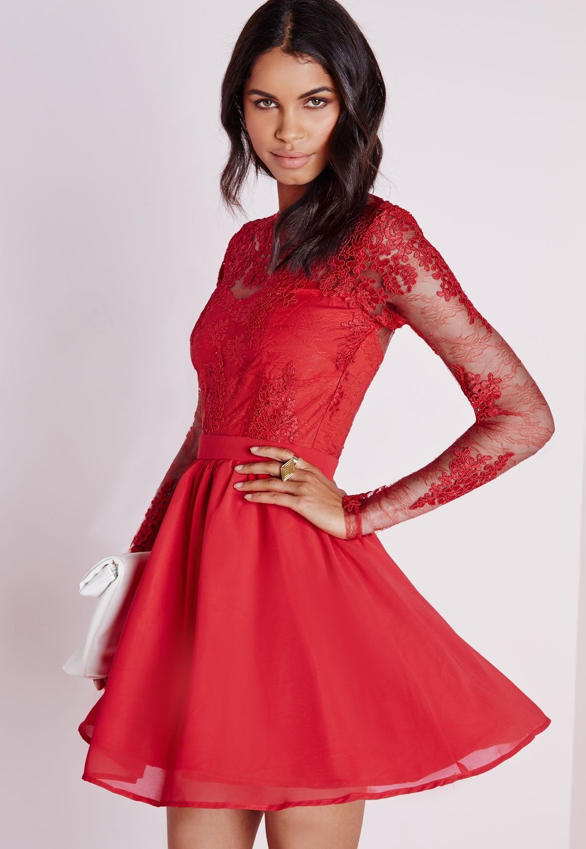 Missguided - Premium Lace Long Sleeve Skater Dress Red | Clothing ...