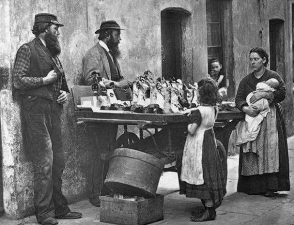 Fancy-Wear Stall  A Victorian fancy wear dealer selling ornaments from his barrow.  Original Artwork: From  'Street Life In London' by John Thomson and Adolphe Smith - pub. 1877   (Photo by John Thomson/Getty Images).
