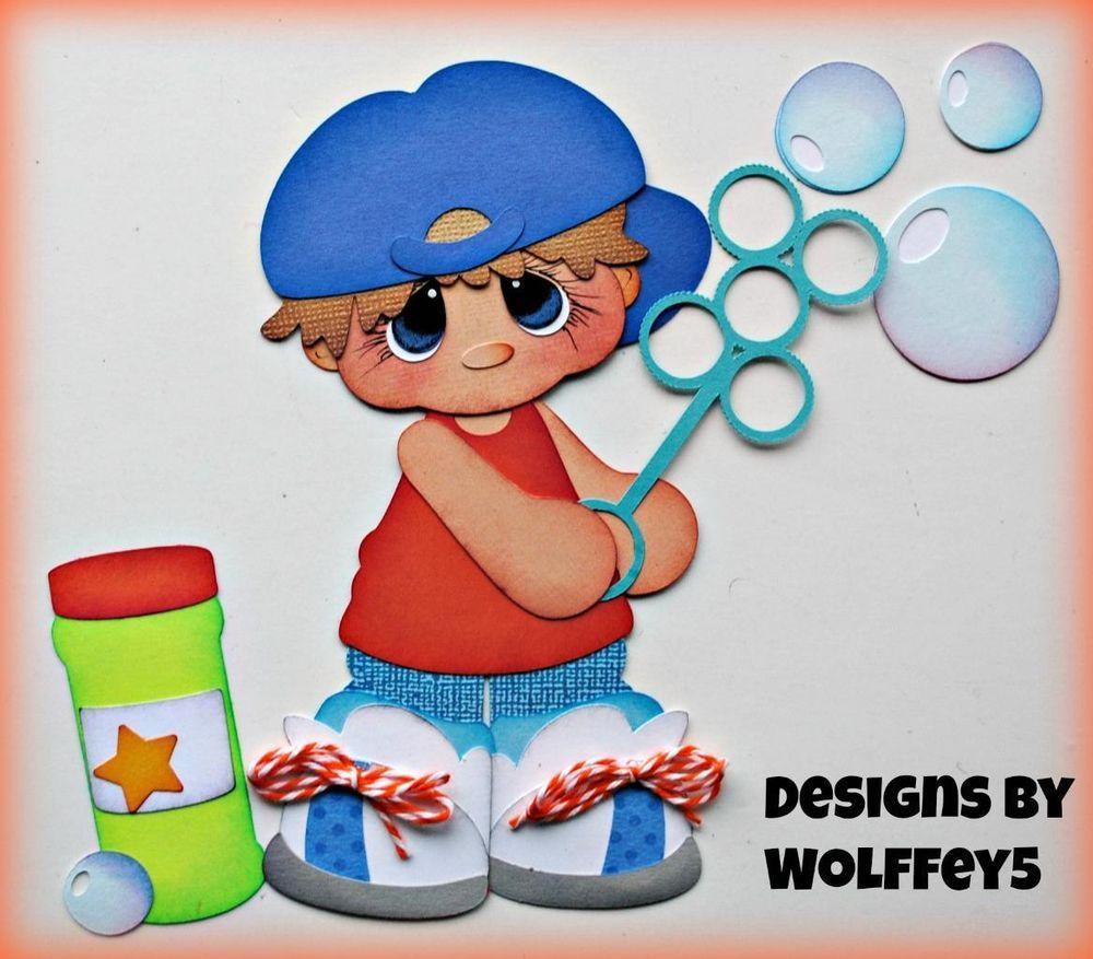 ELITE4U NANA BOY LOVE premade paper piecing scrapbook diecut page piece WOLFFEY5