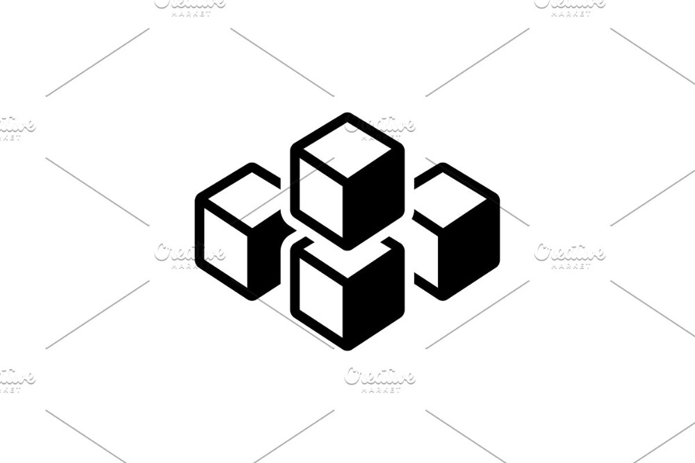 Cube Graphic Of Squares Icon Icons Creative Market Creative Market Graphic Icon