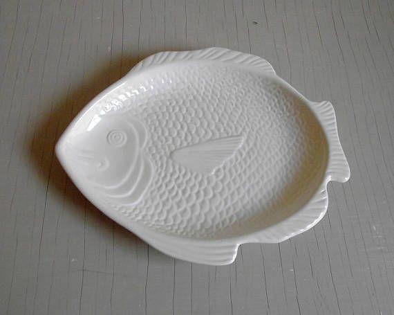 Fish Platter Whittier Pottery  Fish Dinner Plate  White Fish Shaped Serving Plate  Fish & Fish Platter Whittier Pottery  Fish Dinner Plate  White Fish ...