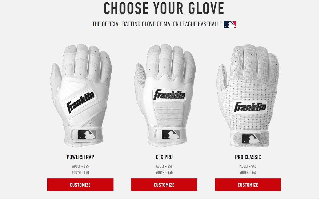 Design Your Own Custom Franklin Batting Gloves Batting Gloves