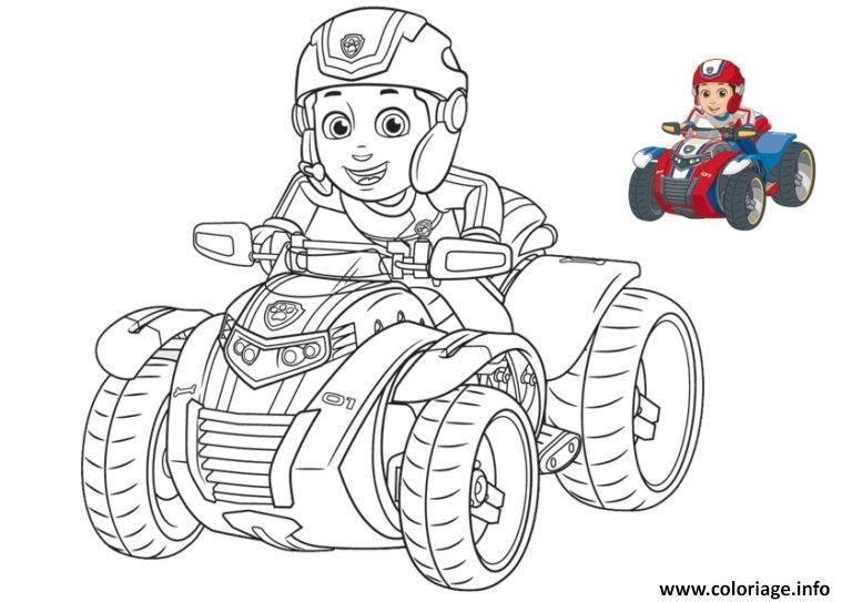 Coloriage Ryder De Pat Patrouille Sur Une Moto 4x4 Dessin à Imprimer